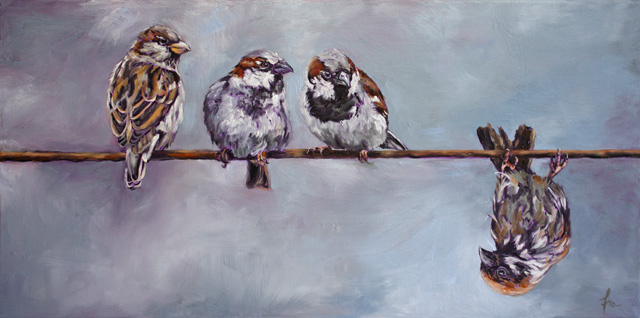 There's One In Every FLock (Oil on stretched canvas 24 x 12)